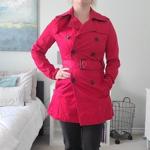 Belted bright red peacoat